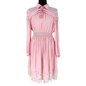 Maje Long Sleeve Babydoll Layered Floral Hem Dress
